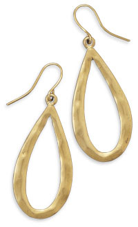 Hammered Pear Shape Gold Tone Fashion Earrings - DISCONTINUED