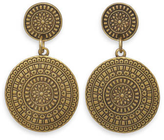Oxidized Gold Tone Concho Style Fashion Earrings - DISCONTINUED