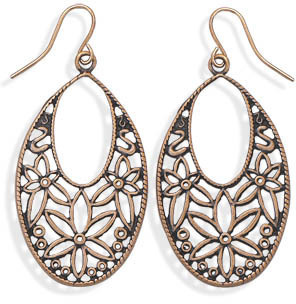 Oxidized Rose Tone Floral Design Fashion Earrings - DISCONTINUED