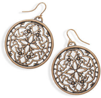 Oxidized Rose Tone Ornate Fashion Earrings - DISCONTINUED