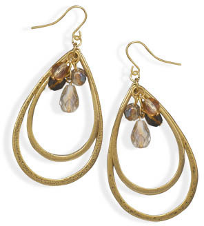 Gold Tone Pear Fashion Earrings with Glass Beads - DISCONTINUED
