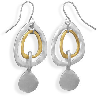 Two Tone Matte Finish Drop Fashion Earrings