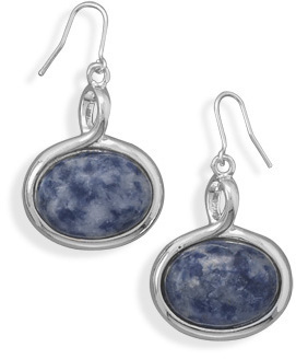 Silver Plated Sodalite Fashion Earrings - DISCONTINUED