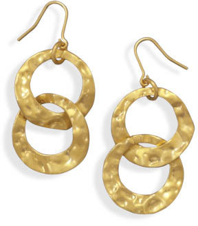 Gold Plated Double Circle Drop Fashion Earrings
