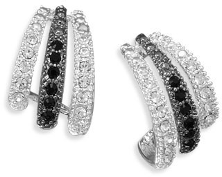 Silver Plated Black and White Crystal Fashion Earrings