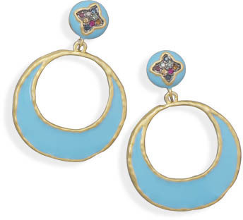 14 Karat Gold Plated Blue Color Epoxy Earrings - DISCONTINUED