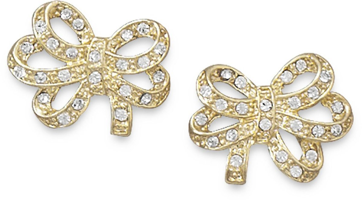 14 Karat Gold Plated Crystal Bow Fashion Earrings