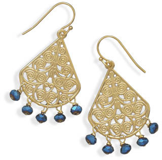 Ornate Gold Plated and Blue Glass Bead Fashion Earrings - DISCONTINUED