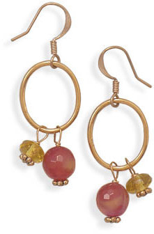 Copper Earrings with Fire Agate and Glass