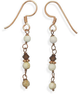 Magnesite and Crystal Drop Copper Earrings