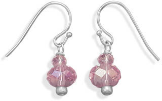Pink Rondell Glass Fashion Earrings