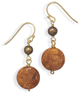 Jasper and Cultured Freshwater Pearl Brass Earrings