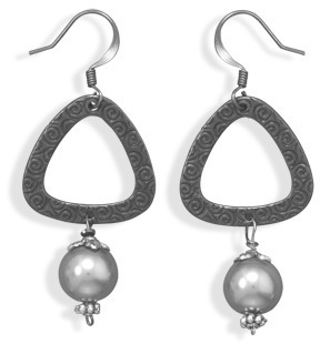 Tri Shape Gunmetal Plated Fashion Earrings with Glass Pearl - DISCONTINUED