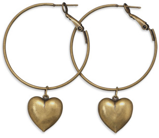 Brass Hoop with Heart Charm Earrings