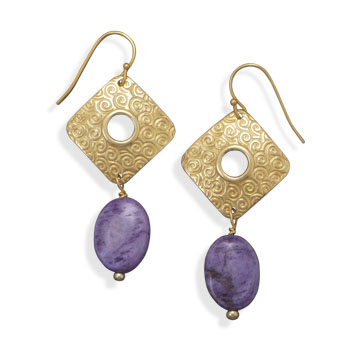 Gold Plated Purple Agate Fashion Earrings- DISCONTINUED