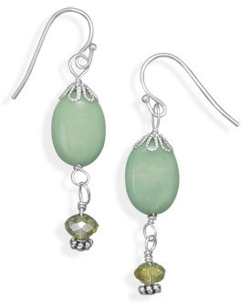 Green Magnesite and Glass Fashion Earrings - DISCONTINUED