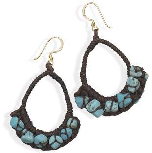 Crochet Turquoise Chip Fashion Earrings - DISCONTINUED