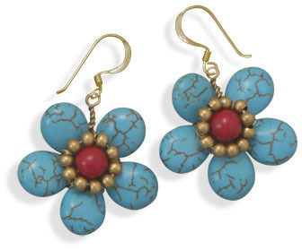 Howlite Flower Fashion Earrings - DISCONTINUED