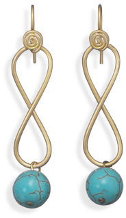 Brass Figure 8 Earrings with Turquoise Bead - DISCONTINUED