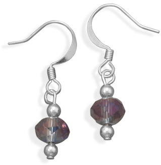 Silver Plated Rondell Glass Bead Fashion Earrings