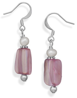Silver Plated Shell and Cultured Freshwater Pearl Fashion Earrings