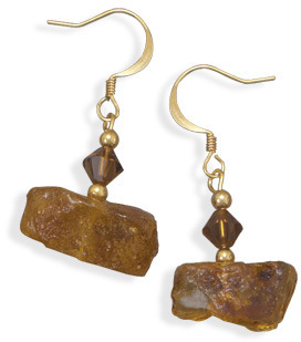 Reconstituted Amber and Crystal Fashion Earrings