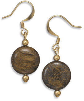 Gold Plated Bronzite Fashion Earrings - DISCONTINUED