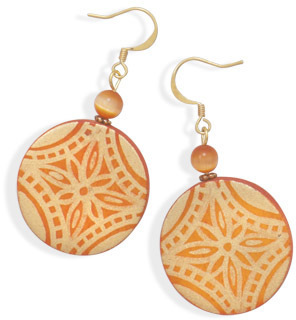 Orange Wood and Glass Cat's Eye Fashion Earrings - DISCONTINUED