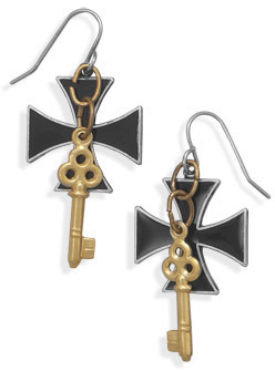 Cross and Key Fashion Earrings - DISCONTINUED