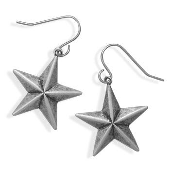 Oxidized Silver Tone Star Fashion Earrings - DISCONTINUED