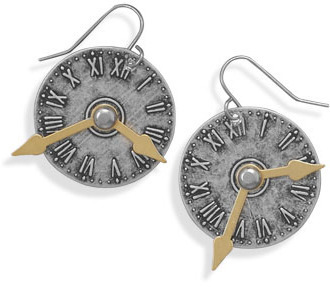 Two Tone Clock Style Fashion Earrings - DISCONTINUED