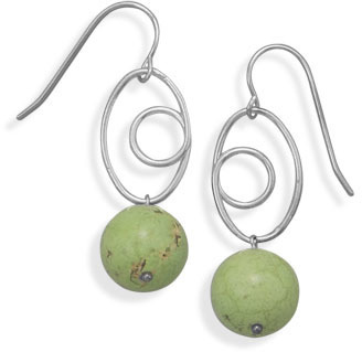 Pewter and Magnesite Fashion Earrings - DISCONTINUED