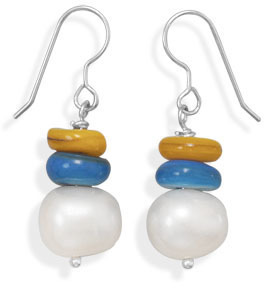 Cultured Freshwater Pearl and Shell Fashion Earrings