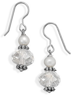 Cultured Freshwater Pearl and Crystal Fashion Earrings