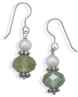Cultured Freshwater Pearl and Green Crystal Fashion Earrings