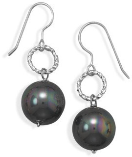 Black Shell Pearl Fashion Earrings - DISCONTINUED