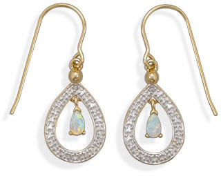 Plated Brass Fashion Earrings with Opal and Diamond Accents