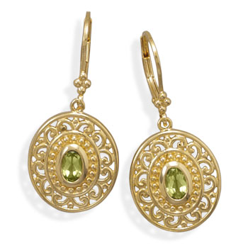 Plated Brass Peridot Fashion Earrings- DISCONTINUED