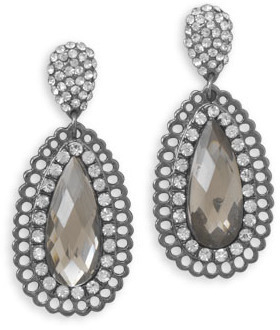 Pear Shape Crystal and Acrylic Drop Fashion Earrings - DISCONTINUED