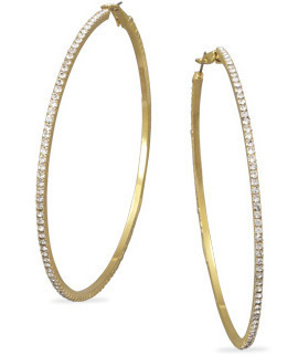 "3"" Gold Tone Crystal Fashion Hoop Earrings"