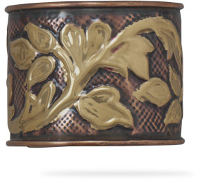 "2"" Brass and Copper Leaf Design Cuff"