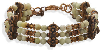 "7""+1"" Multistrand Copper and Bead Bracelet"