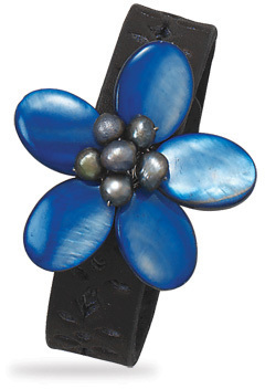 "7""-7.5"" Leather Fashion Bracelet with Blue Shell Flower"