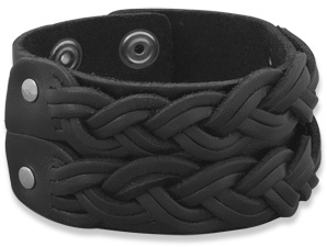 "8""-8.5"" Leather Fashion Bracelet with Double Braid Design"