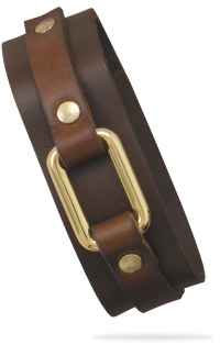 "7""-9"" Brown Leather and Gold Tone Fashion Bracelet"