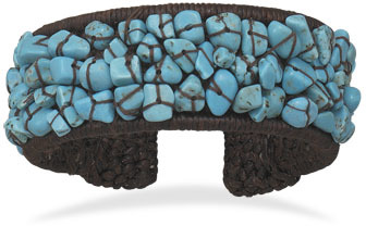 Crochet Flex Cuff with Turquoise Chips - DISCONTINUED