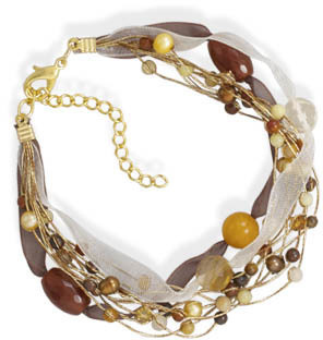 "7.5""+2"" 10 Strand Multibead Fashion Bracelet"