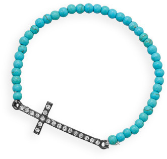 "7"" Magnesite Sideways Crystal Cross Fashion Stretch Bracelet"