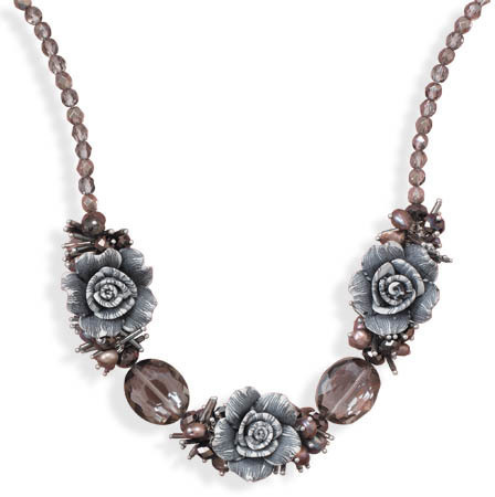 "16"" + 2"" Glass and Clay Flower Fashion Necklace"