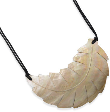 "17""+2"" Double Strand Fashion Necklace with Carved Shell Leaf - DISCONTINUED"